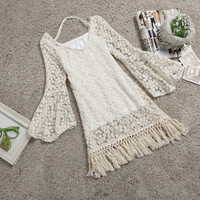 NICE TESSEL LACE THE HORN SLEEVE DRESS