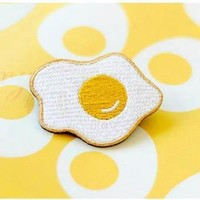 Egg Embroidery Brooch Patch