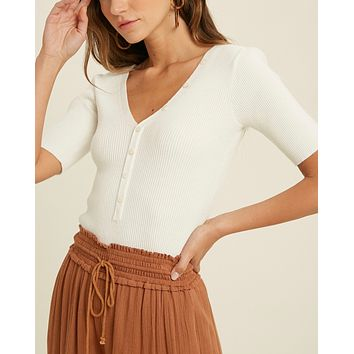 Beatrice Button Down Ribbed Knit Bodysuit in More Colors