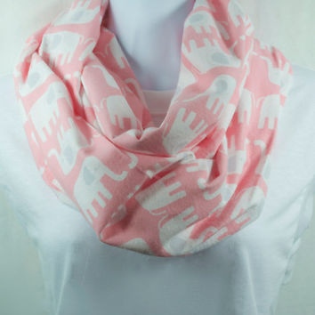 Pink Elephants Infinity Scarf - 100% Cotton in Snuggle Flannel - Pre-washed Pre-shrunk - Handmade - Great Gift - Easy Care