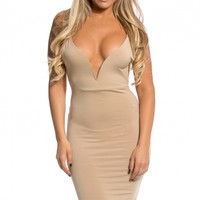 Tan Plunging Backless Body Con Dress @ Cicihot sexy dresses,sexy dress,prom dress,summer dress,spring dress,prom gowns,teens dresses,sexy party wear,ball dresses