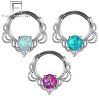 Lacey Opal Gem Septum Ring 16G G23 Titanium Clicker Nose Rings Body Piercing Jewelry