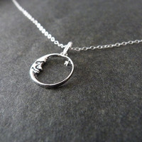 I love you to the moon and back, STERLING SILVER, crescent moon necklace, daughter gift, silver moon, grandchildren gift
