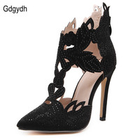 Gdgydh 2017 New Arrival Female Pointed Toe Ankle Boots Women Sexy Rhinestone Thin High Heels Party Shoes White Summer Shoes 40