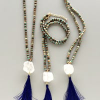 Quartz Royal Blue Tassel Necklace