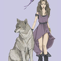 Wolf Fairy and Butterfly College Ruled Notebook