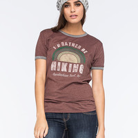Corner Shop I'd Rather Be Hiking Womens Tee Wine  In Sizes