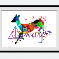 Harry Potter always colorful poster, watercolor print, Harry Potter wall illustration, silhouette, abstract, nursery, home decor, gift, W94