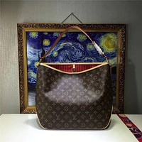 LV Louis Vuitton MONOGRAM LEATHER HANDBAG