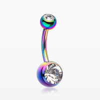 Colorline Double Gem Ball Steel Belly Button Ring