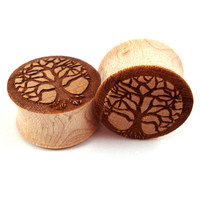 """Tree of Life Maple Wooden Plugs 2g (6mm) 0g (8mm) 00g (9mm) (10mm) 7/16"""" (11mm) 1/2"""" (13mm) 9/16"""" (14mm) 5/8"""" (16mm) 3/4"""" 19mm 7/8"""" 22mm 1"""""""