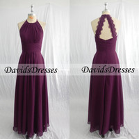 Purple Backless Long Bridesmaid Dresses For 2016 Wedding, A Line Sleeveless Chiffon Bridesmaid Dress