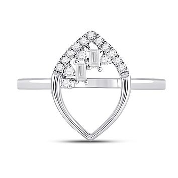 14k White Gold Baguette Diamond Scattered Oval Ring 1/8 Cttw