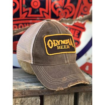 Olympia Beer Brown Patch Hat - Distressed Brown