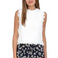 White Tweed Sleeveless Top at Blush Boutique Miami - ShopBlush.com : Blush Boutique Miami – ShopBlush.com