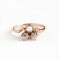 Antique Victorian 10k Rosy Yellow Gold Triple Moonstone Ring - 1900s Vintage Size 6 3/4 White Orb Gemstone Three Stone Cluster Fine Jewelry