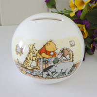 Winnie the Pooh vintage 1990's globe money box by Royal Doulton