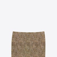 Saint Laurent Mini Bandeau Skirt In Black And Gold Embroidered Jacquard   ysl.com