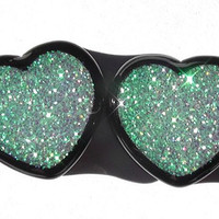 Alice In Iridescent Land Sparkle Heart plugs embedded resin filled - Made to Order 00,5/8,11/16,3/4,7/8