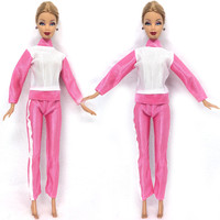 NK One Set Doll Pink Clothing Fashionable outfits Casual Suits For Barbie Doll Best Gift Baby Toy Doll Accessories Child Toy