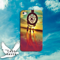 Dreamcatcher Feathers Cute Tumblr Sunset Sky Custom iPhone Case for iPhone 4 and 4s and iPhone 5 and 5s and 5c Case