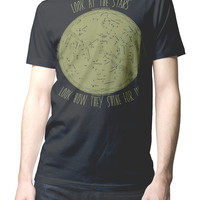 Men T-shirt Look at the Stars Look how they Shine for you. Music Song Lyrics Coldplay