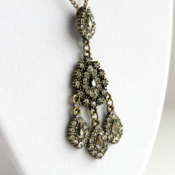 Vintage-Inspired Antique Gold & Gunmetal Crystal Pendant - Neo Victorian Romantic Necklace - Downton Abbey Inspired Jewelry - Ready to Ship