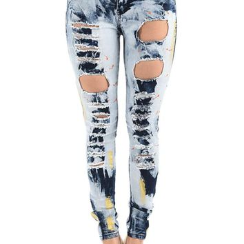 Women's High Rise Destroyed Acid Wash Skinny Jeans