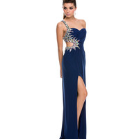 (PRE-ORDER) 2014 Prom Dresses - Navy Jersey & Beaded Cut Out One Shoulder Gown