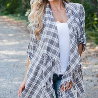 Plaids Tassel Loose Asymmetrical Shirt