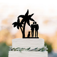 Gay Wedding Cake topper with dog. Gay silhouette wedding cake topper same sex mr and mr, funny wedding cake topper tree, unique cake topper