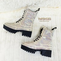 CR Queen Pin 2 Iridescent Rhinestone Lace Up Platform Sneaker Combat Ankle Boots