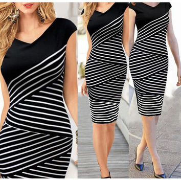 Summer Fashion 2016 Girl  women dress Office Formal Bodycon pencil Midi Party Bandage Dress sexy women plus size dress vestidos