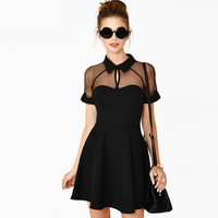 Black Mesh Short-Sleeve Collar Dress