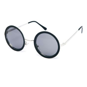 ASOS Metal Nose Bridge Set Round Sunglasses - Black