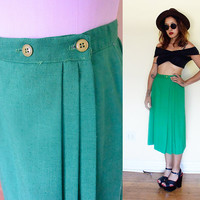 Vintage 60's linen pleated green emerald mid century a-line skirt