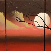 "ARTFINDER: triptych 3 panel wall art colorful images ""Moon Dance"" 3 panel canvas wall abstract canvas pop abstraction 27 x 12"" by Stuart Wright - The original paintings for sale ""Moon Dance"" mo..."