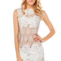 Lace Applique Sheer Dress in White