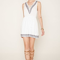 Embroidered Lace-Up Dress | Forever 21 - 2000160421