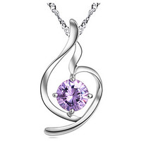 Heart Violet Zircon Sterling Silver Pendant& necklace