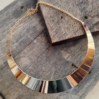 Mirrored Metal Choker Necklace