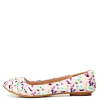 Ruched Floral Print Ballet Flats by Charlotte Russe