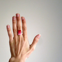 Red ombre ring / Adjustable geometric ring / Rectangle clay ring / Fashion ombré trend