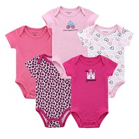 5 pieces Baby Romper Pure Cotton Short Sleeve O-neck Baby Boy&Girl Casual Baby Summer Clothing Set