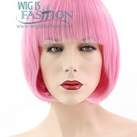 "11"" Short Layered Pink Fashion Synthetic Hair Wig TBZ1117"