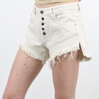 High Waisted Vintage Button Down Shorts {Cream}
