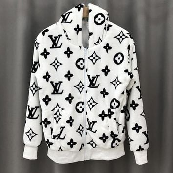LV Louis Vuitton Hot Sale New Women's Mink Letter Jacquard Zip Hooded Jacket