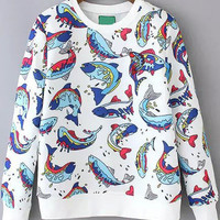 Fish Print Long Sleeve Sweatshirt