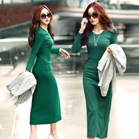 Women Autumn Winter Body Knitted Sweater Long Dress Elegant Sexy Casual Full Sleeve Pencil Basic Slim Fit Knit Dresses = 1956764612