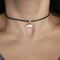 Leather Whale Tail Choker with Antique Silver Charm.